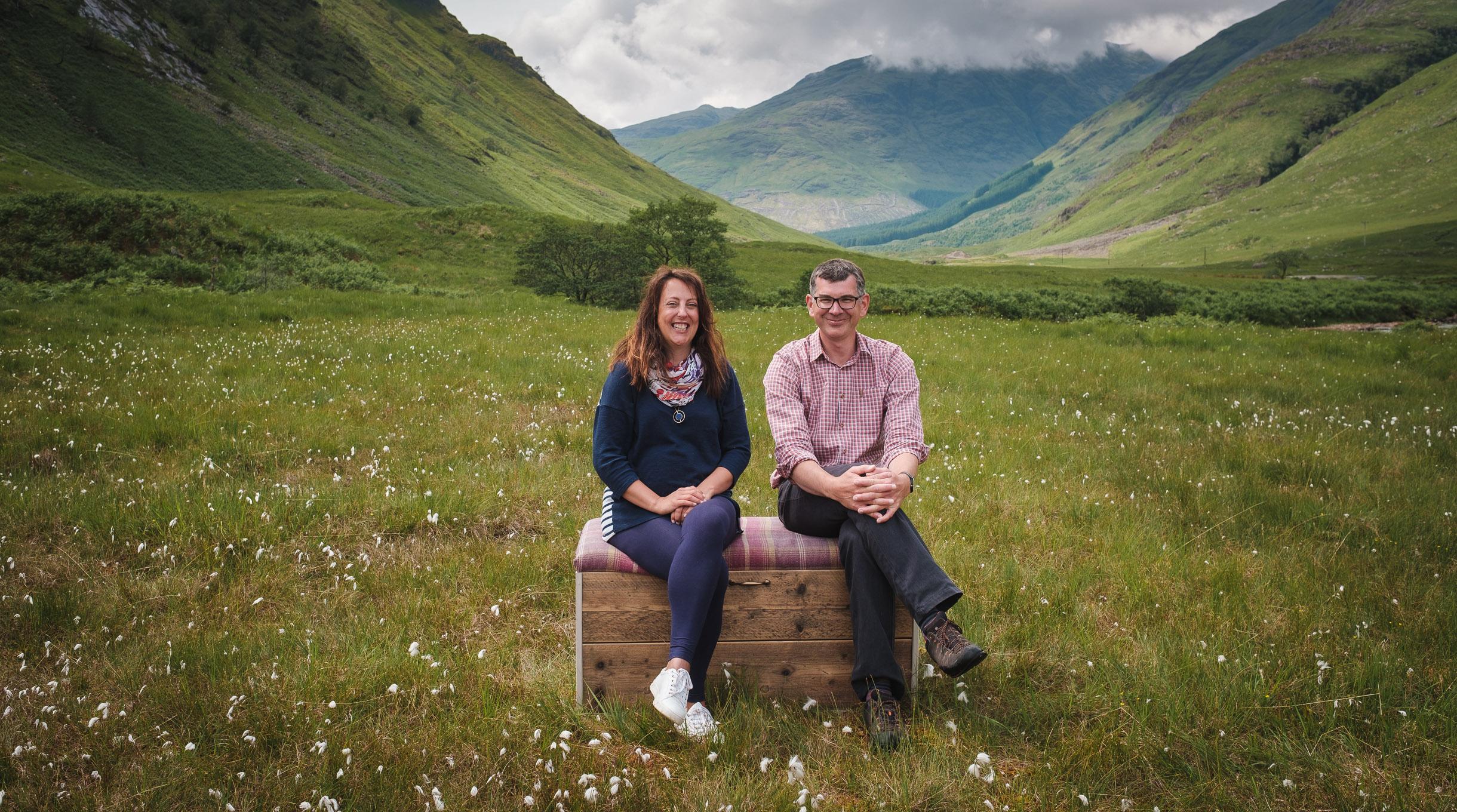 Trevor Wilson and Paula Wilkinson in Glen Etive